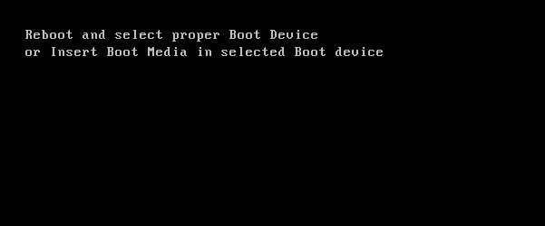 Reboot and Select Proper Boot Device Error in Windows 10