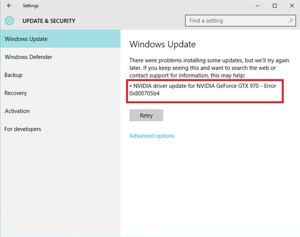 Windows Update Error 0x800705b4 Error