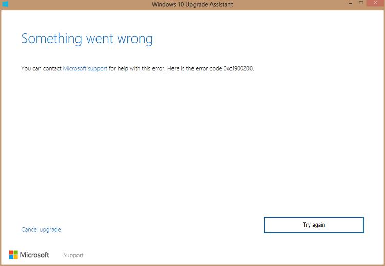 Update Error Code 0xc1900200 in Windows 10