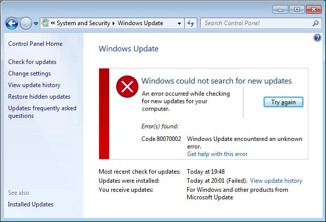Update Error Code 0x80070002 in Windows [Solved]