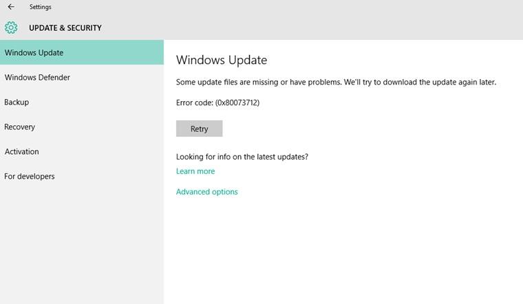 Update Error Code 0x80073712 in Windows 10